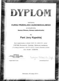 Dyplom z kursu tłumaczy audiowizualnych